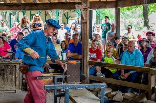 Glassblowing demonstration at the renaissance faire renacopia