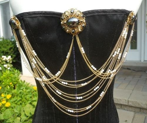 Renaissance Spirit Jewelry--Jet and Pearl Bodice Jewelry