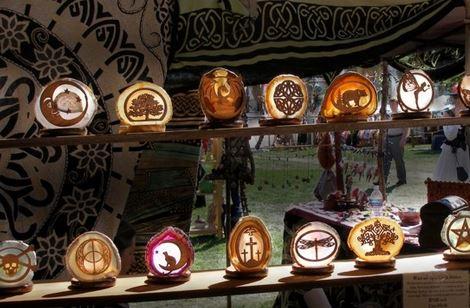Wood, Stone, Leather & Bone--candle holders