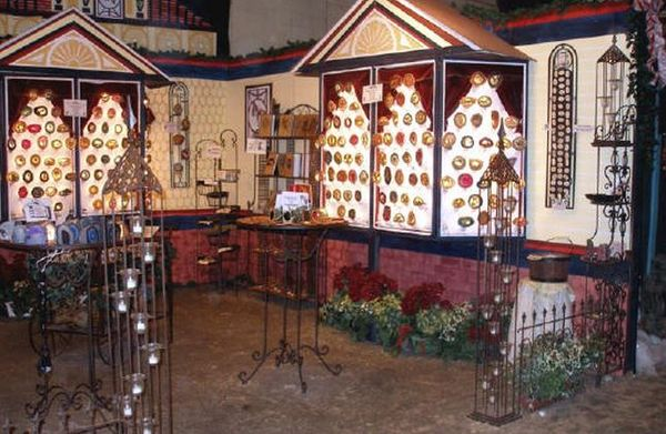 Wood stone leather and bone victorian christmas booth
