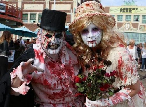 NJ Zombie Walk--Zombie Bride and Groom