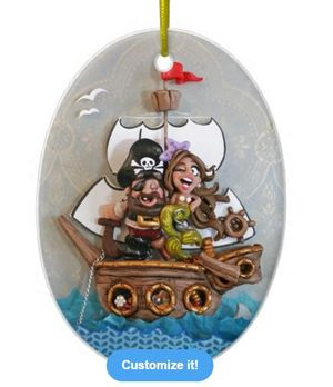 Pirate and mermaid ornament by Christina Patterson from idocaketoppersDOTcom