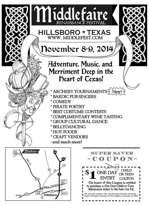 Middlefaire renaissance festival Flyer 2014