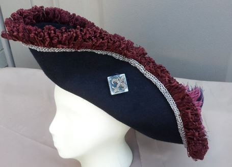 Hats by Violette--Navy Blue Tricorn Pirate Hat